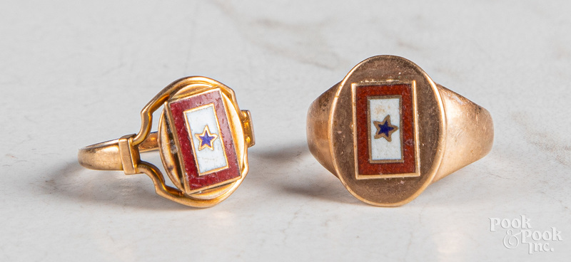 Two 14K rose gold and enamel antique rings