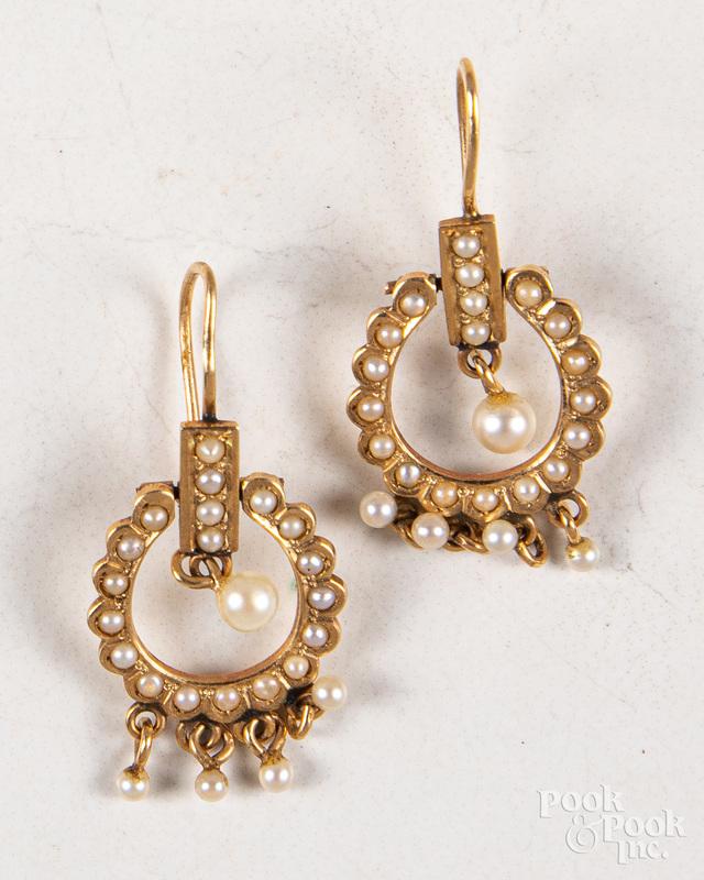 Pair of 14K gold seed pearl earrings