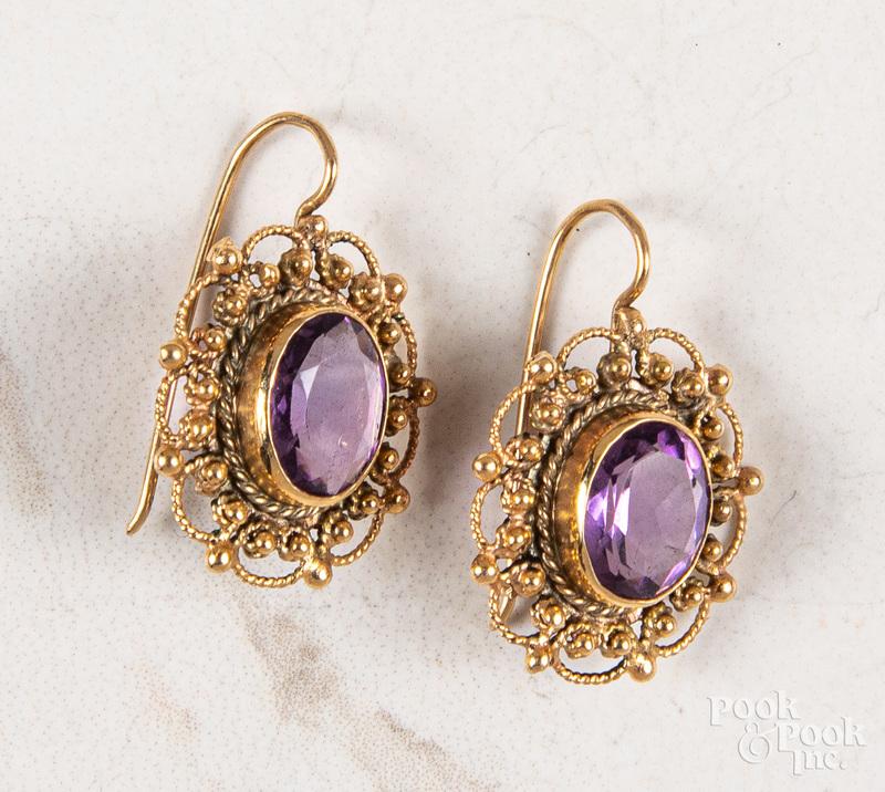 Pair of 14K gold amethyst earrings
