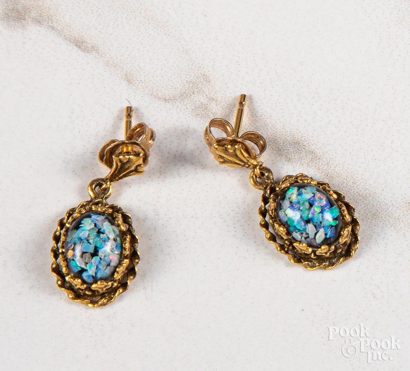 Pair of 14K gold glass cabochon earrings