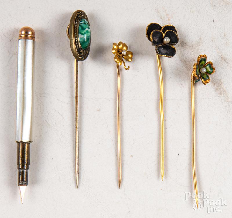 Four stick pins, etc.