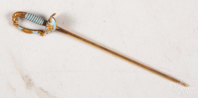 14K gold enamel stick pin rapier