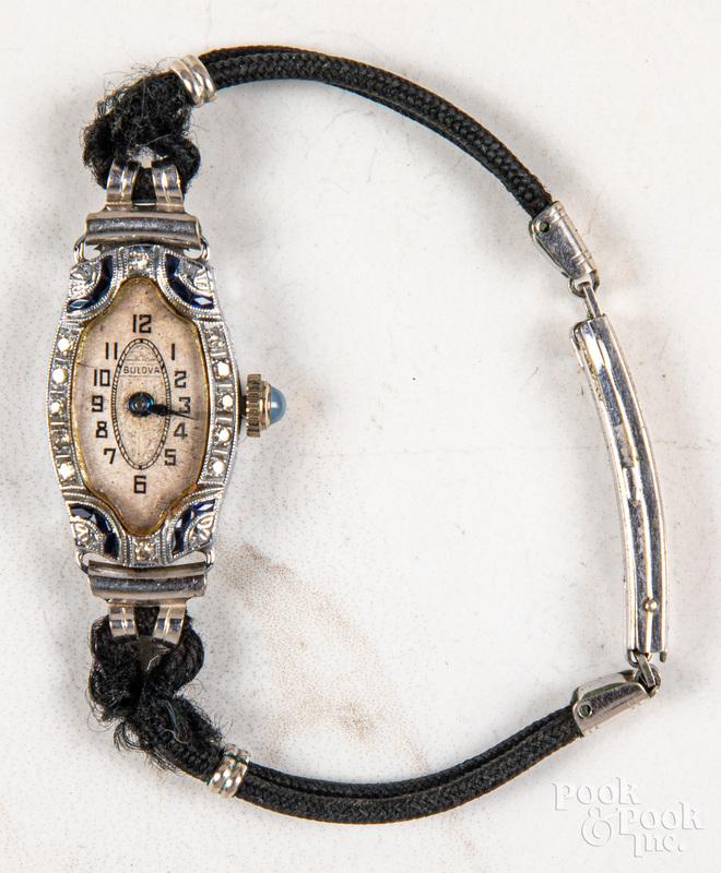 Ladies Bulova sapphire and diamond wrist watch