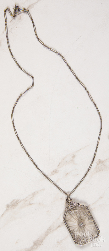 14K white gold filigree necklace