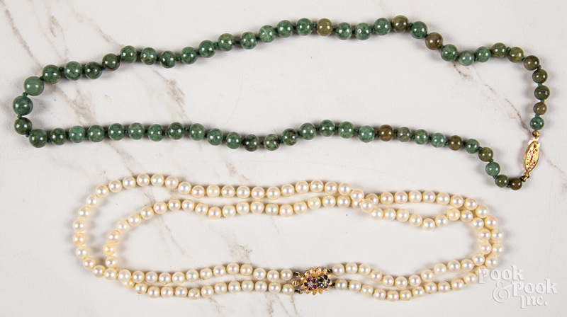 Double strand pearl necklace, etc.