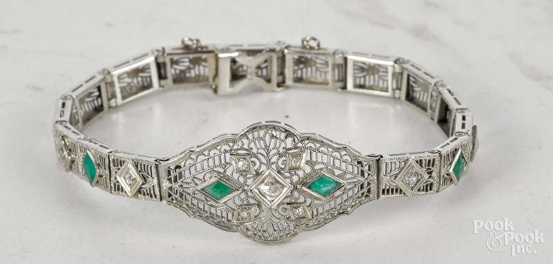 14K white gold diamond emerald filigree bracelet