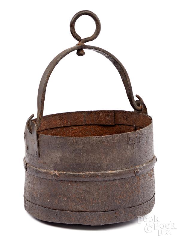 Revolutionary war hand forged cannon sponge bucket