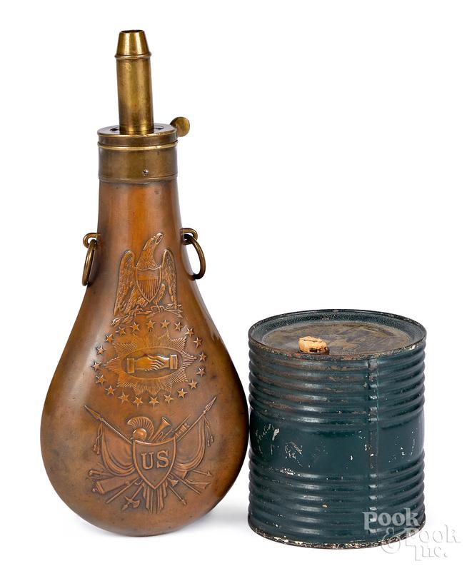 Batty US embossed brass Peace flask, etc.