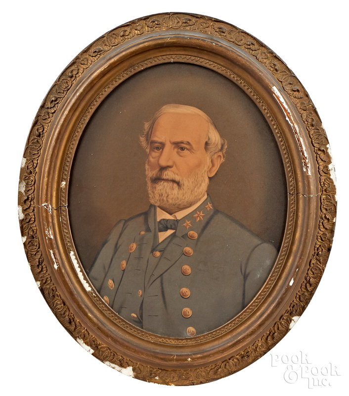 Robert E. Lee lithograph on canvas, etc.