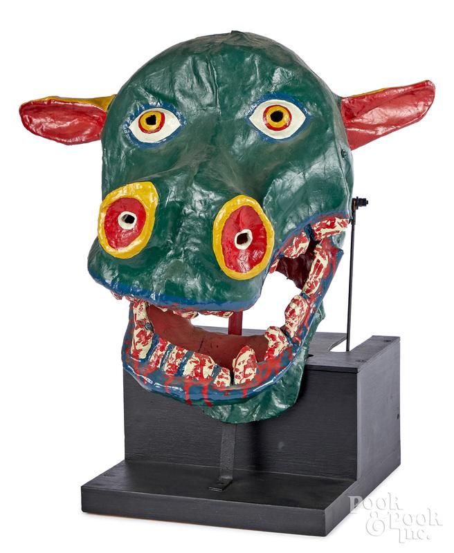 Animated Carnival papier-mâché dragon head