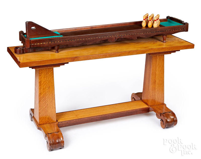 Walnut table top parlor bowling game
