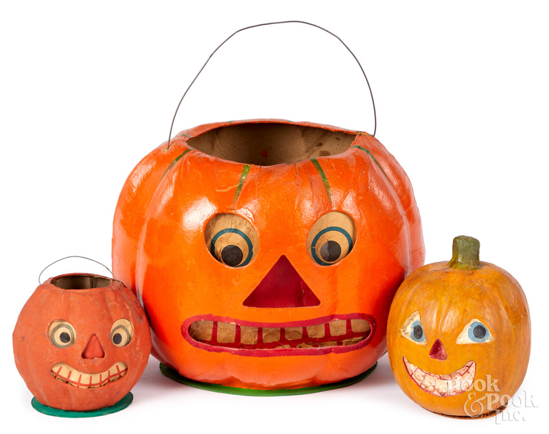Three German candy container & Halloween lanterns