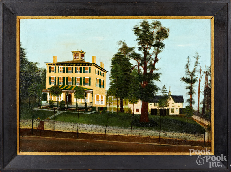 American oil on canvas house portrait
