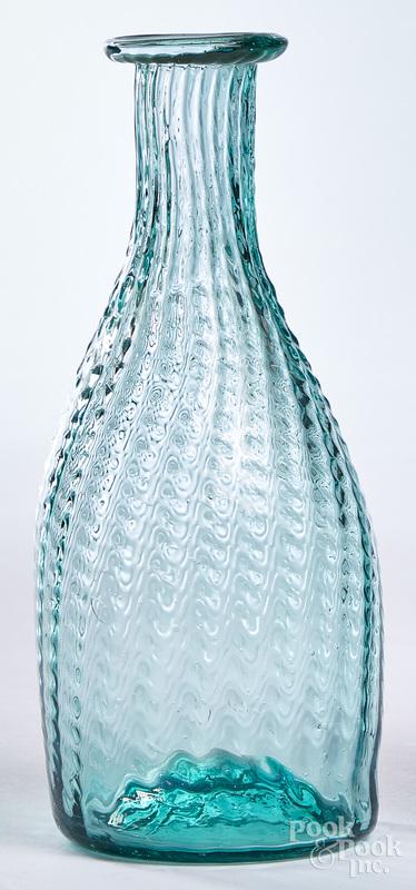 Aquamarine pattern molded vinegar bottle