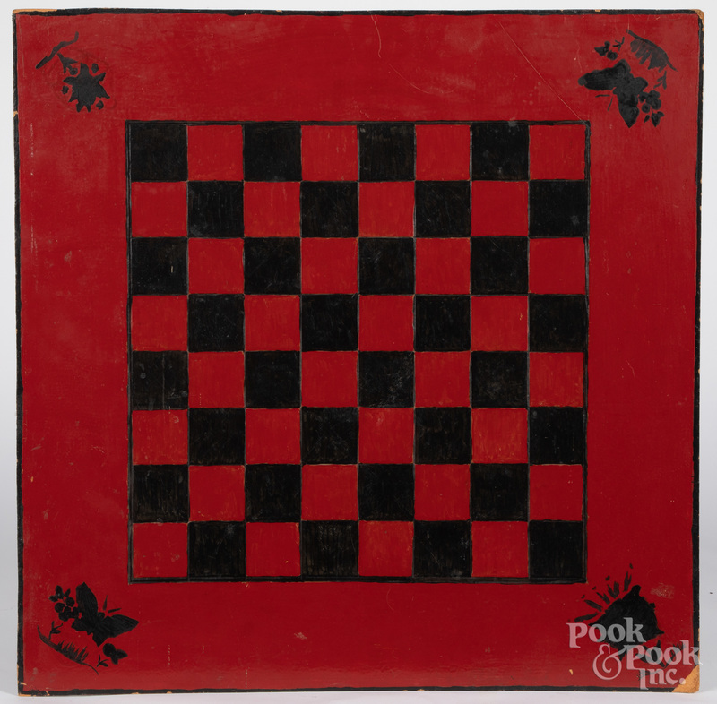 Painted pressboard gameboard, early 20th c.