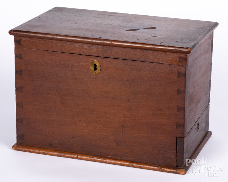 Pennsylvania poplar lock box, 19th c.