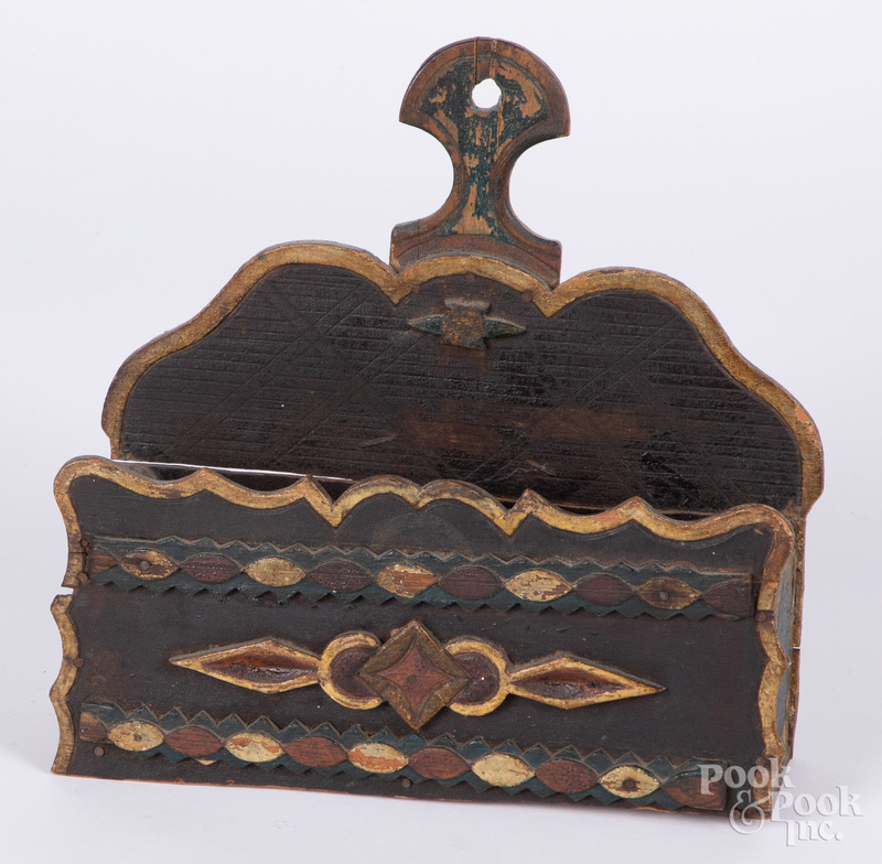 Painted tramp art comb box, late 19th c.