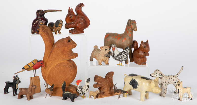 Group of carved and painted animals