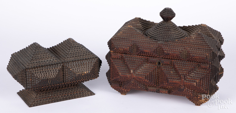 Two tramp art dresser boxes, late 19th c.
