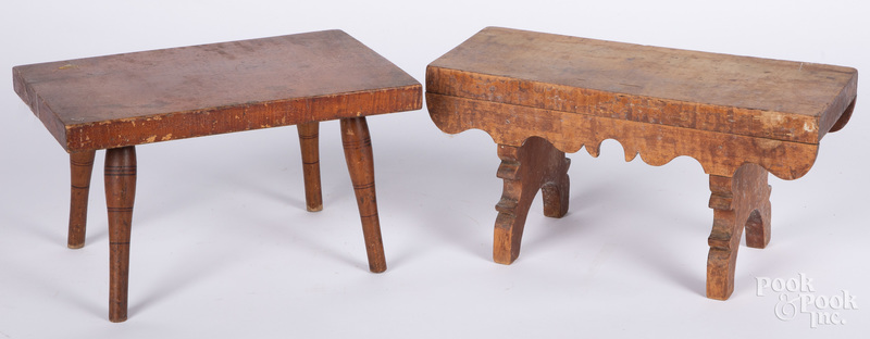 Two tiger maple footstools, 19th c.