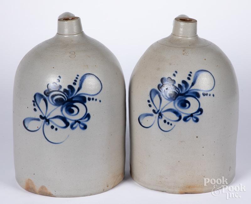 Two Three-gallon stoneware jugs, 19th c.