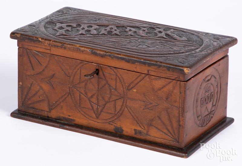 Sailor's carved dresser box, 19th c.