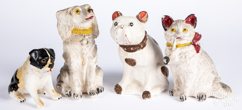 Four pieces of chalkware, ca. 1900