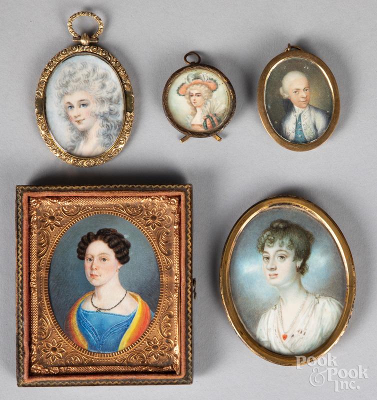 Five miniature watercolor portraits, 19th c.