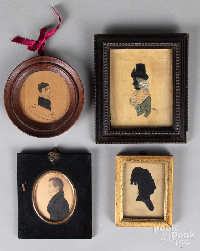 Four miniature portraits and silhouettes, 19th c.