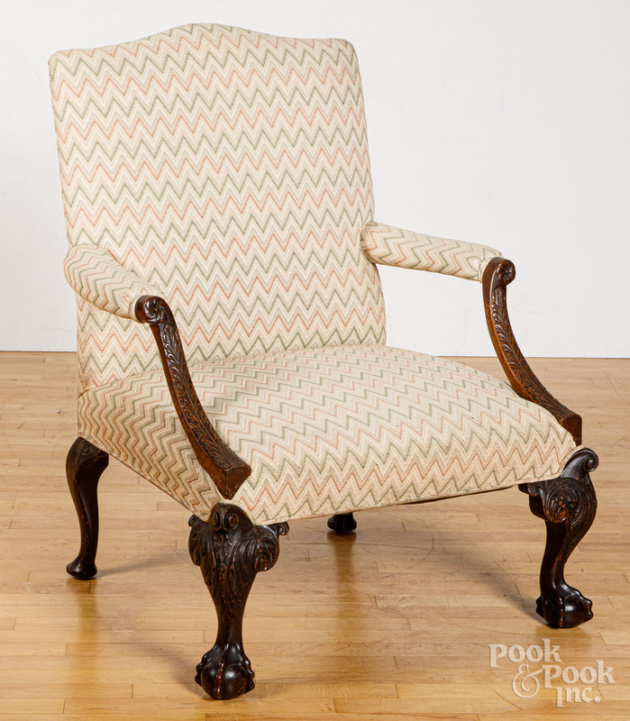 George III style carved mahogany open armchair.
