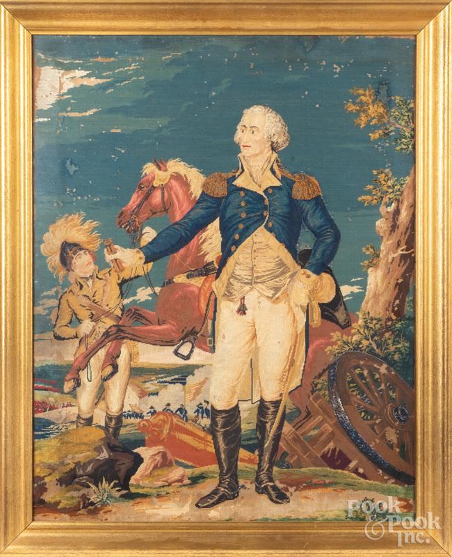 Large needlework of George Washington