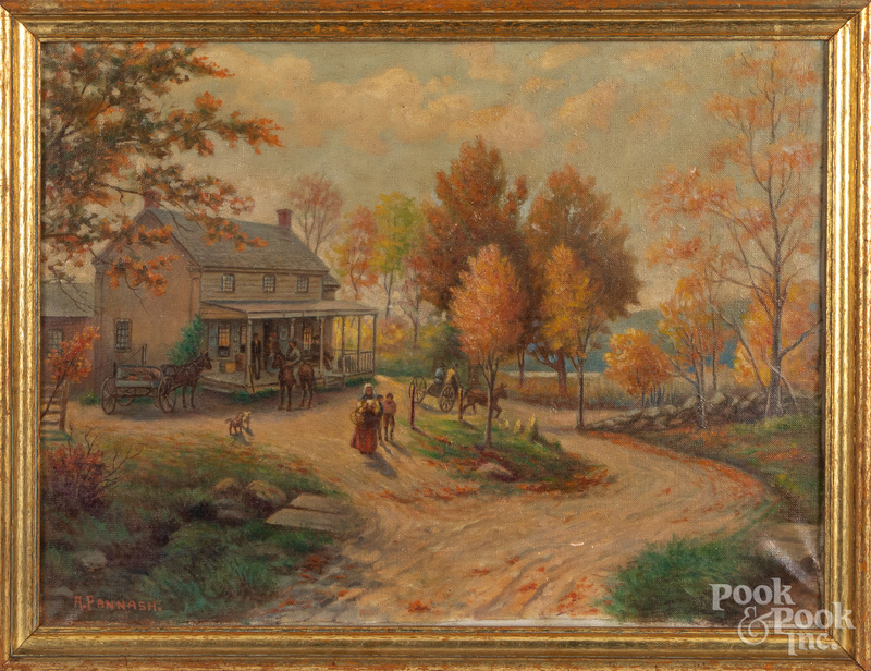 Adolph Pannash oil on canvas country landscape