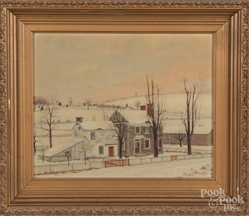 Oil on board winter landscape, early 20th c.