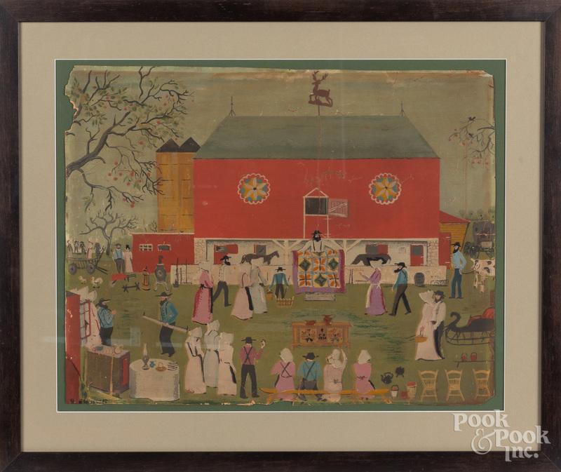 David Ellinger, silkscreen Amish auction