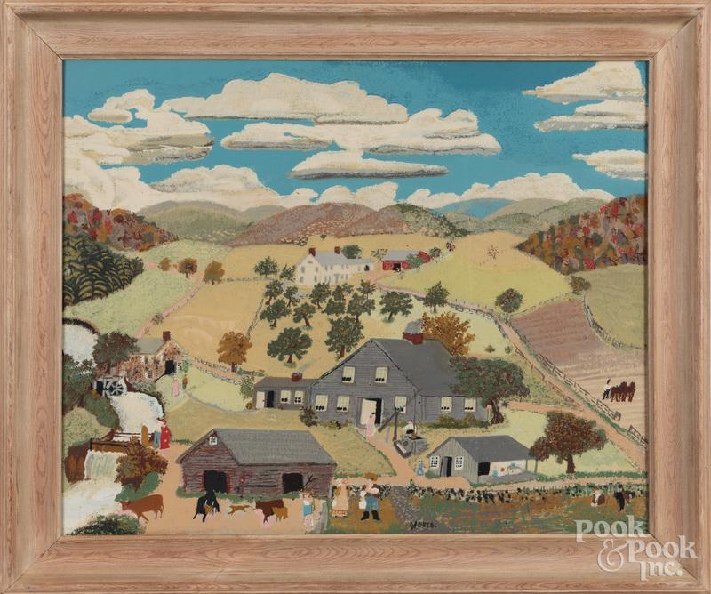 Grandma Moses, silkscreen country landscape