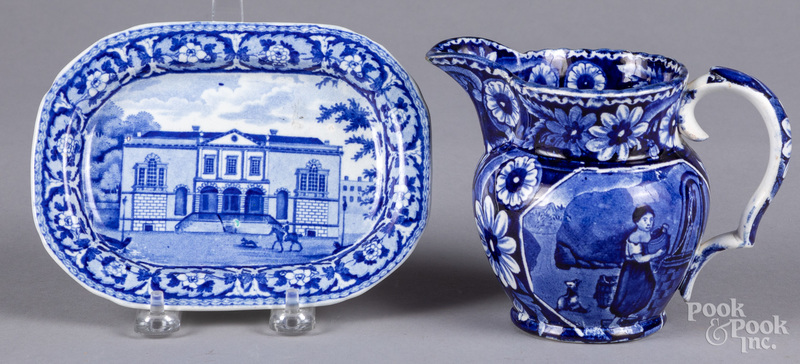 Historical blue Staffordshire small tray