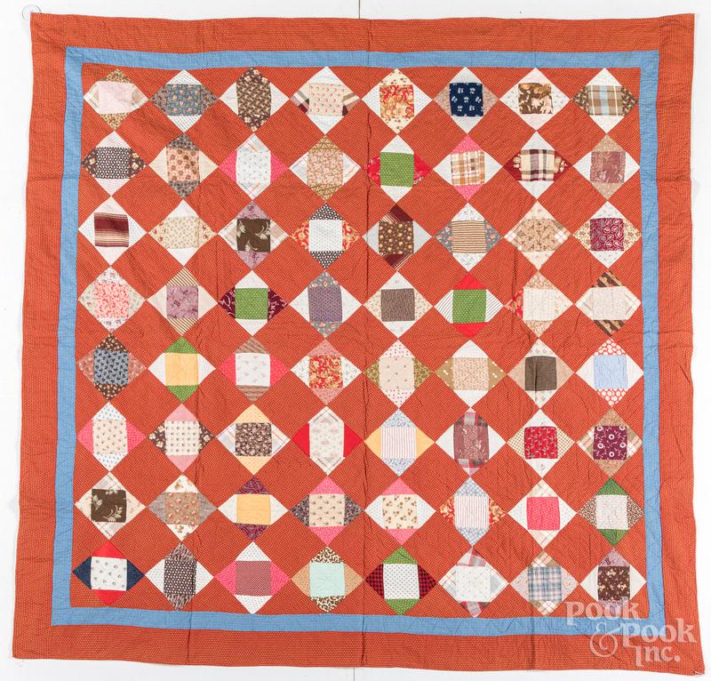 Pieced diamond quilt, 19th c.