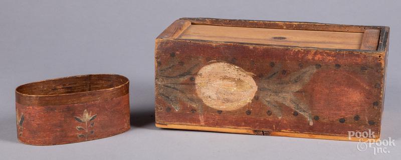 Painted pine slide lid box, 19th c.
