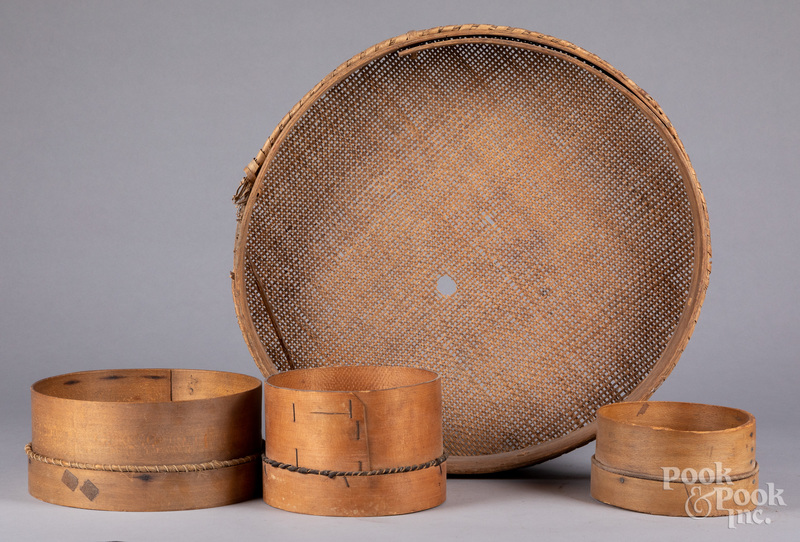 Four bentwood sifters, 19th c.