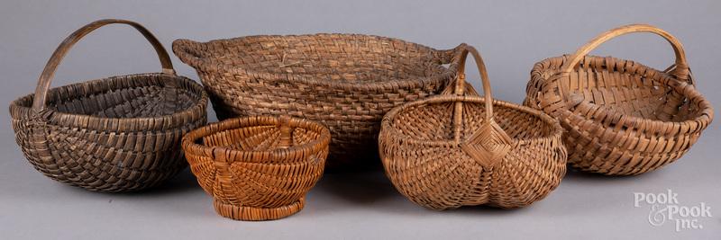 Five assorted baskets.