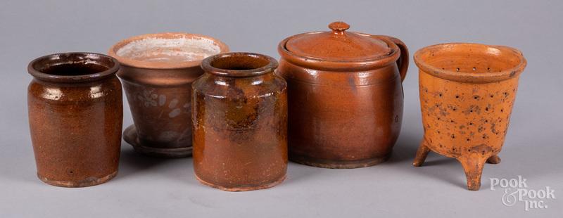 Five pieces of Pennsylvania redware 19th c.