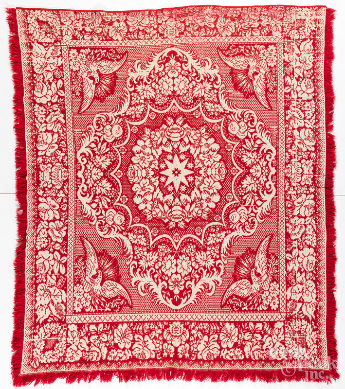 Red and white Jacquard coverlet, 19th c.