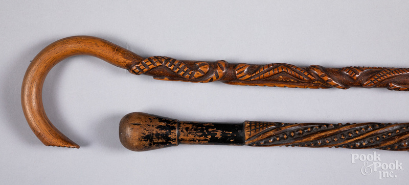 Two carved canes, late 19th c.