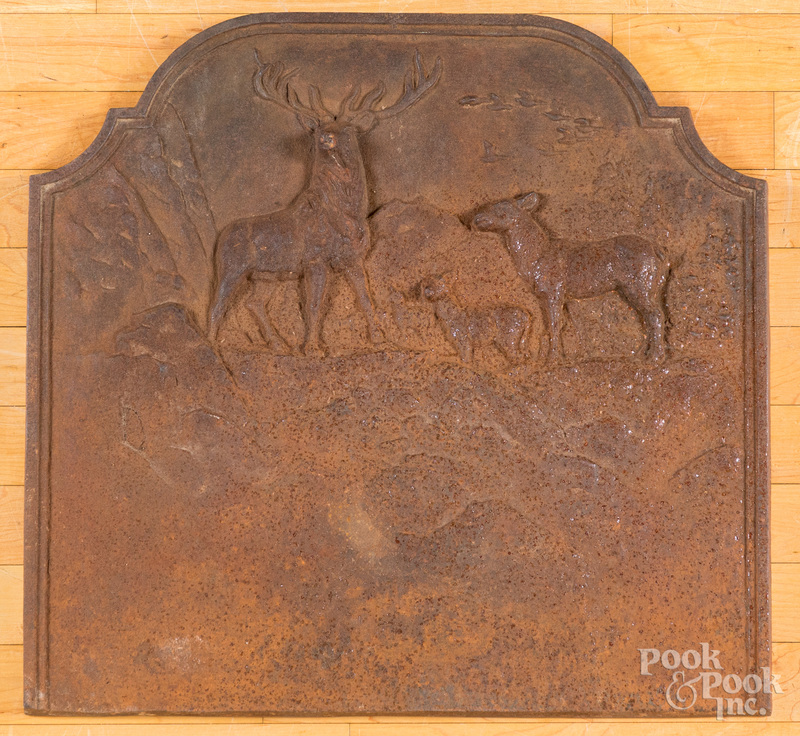 Cast iron stove plate, with stag