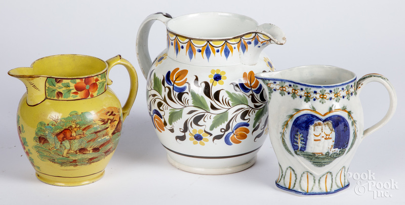 Large pearlware pitcher, 19th c.