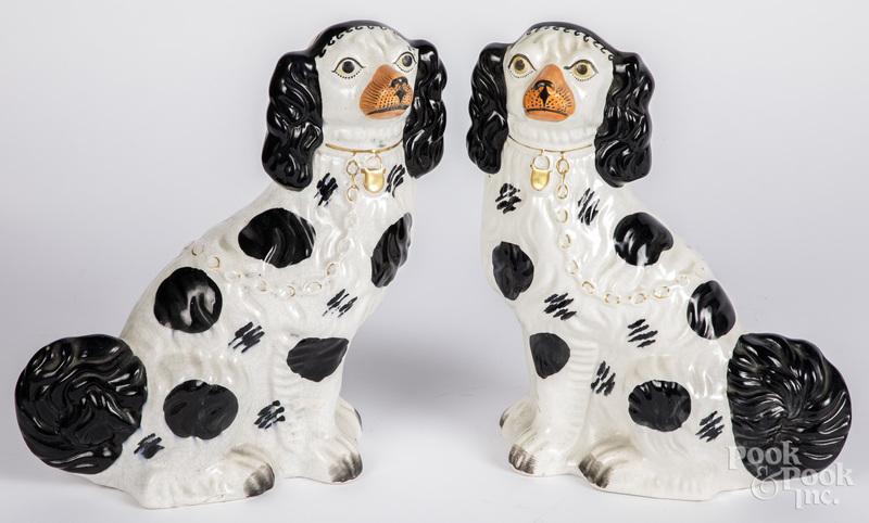 Pair of Staffordshire spaniels, 19th c.