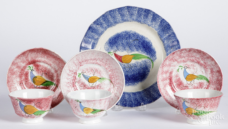 Three red spatter peafowl cups and saucers