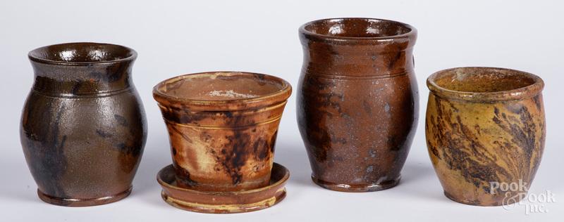 Four pieces of Pennsylvania redware