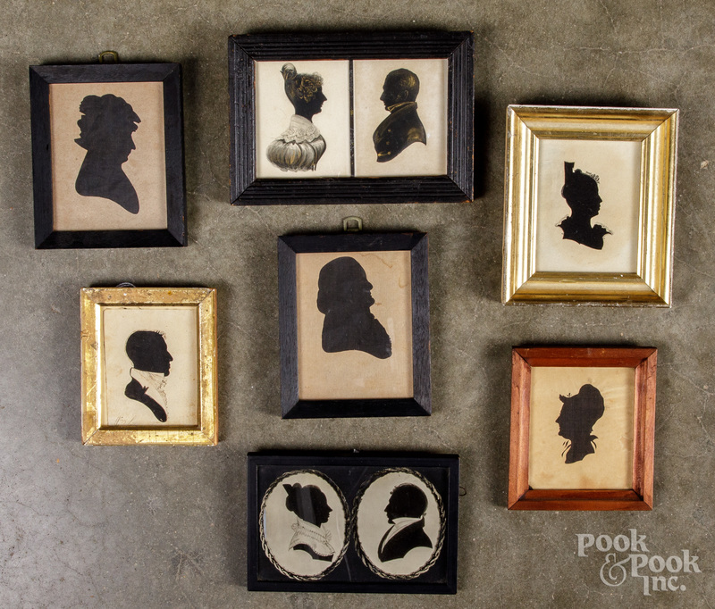 Watercolor double silhouette, and six silhouettes