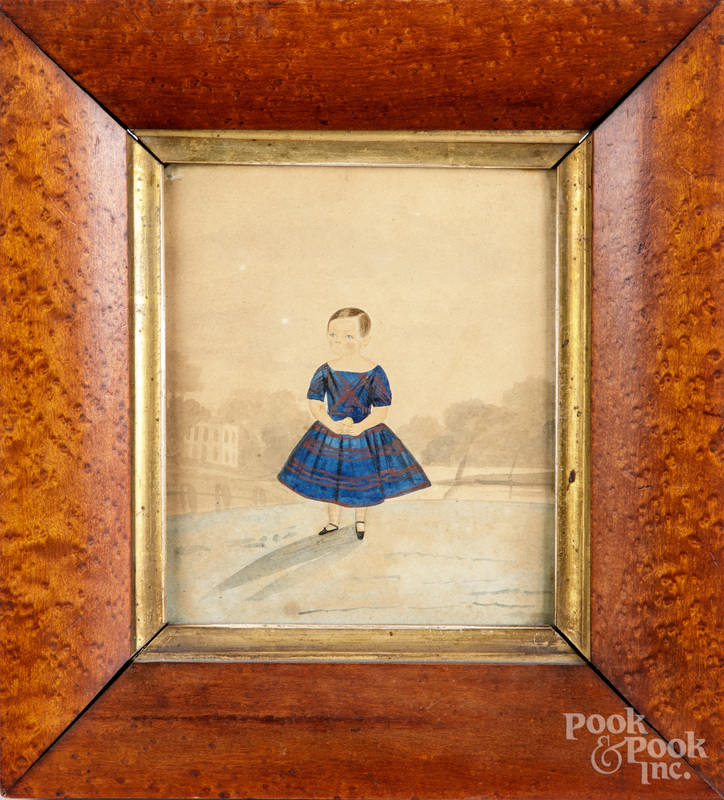 Two watercolor portraits of children, mid 19th c.